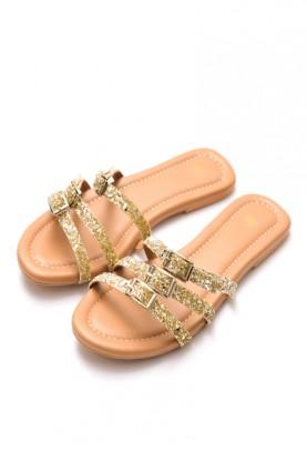 Gold Buckled Slides