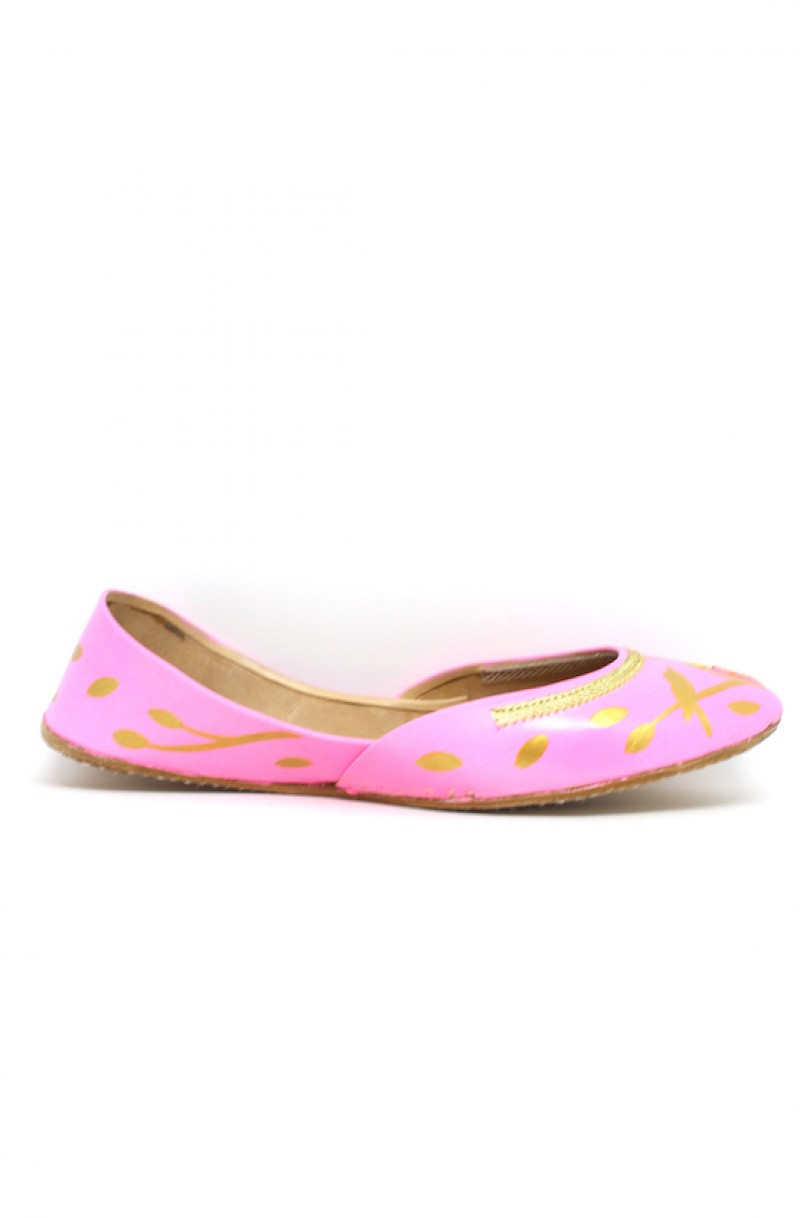 Hand Painted Gold Silhouette Candy Pink Khussa