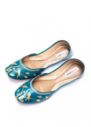 Hand Painted Gold Silhouette Sea Green Khussa