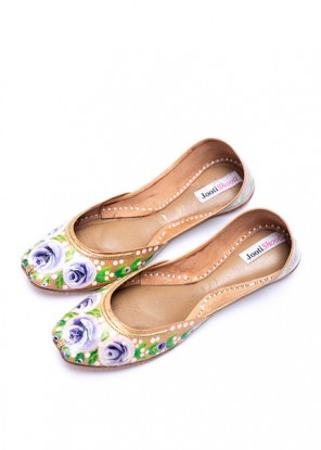 Hand Painted English Lavender Florals Khussa