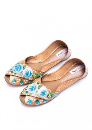 Hand Painted English Blue Florals Peep Toe