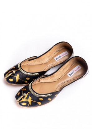 Hand Painted Gold Silhouette  Black Khussa