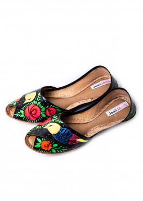 Hand Painted Macaw Black Peep Toe