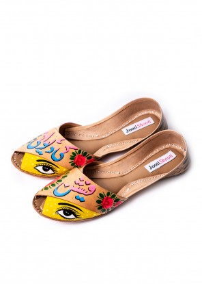 Hand Painted Quirky Eye Fashion Ki Diwani Peep toe