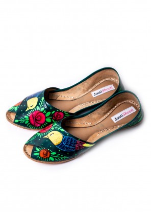 Hand Painted Macaw Green Peep Toe