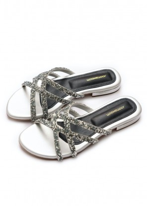 Silver Crisscross Stone Slides