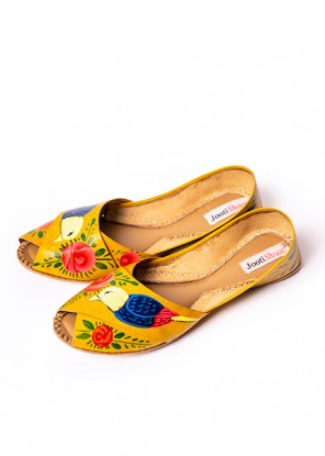 Hand Painted Macaw Yellow Peep toe