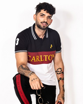 Black Maroon Panel Polo Shirt