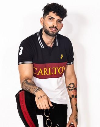 Black Maroon Panel Polo Shirt