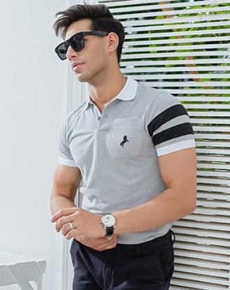 Grey White Pocket Polo Shirt