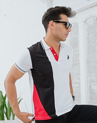 Black White Geometrical Polo