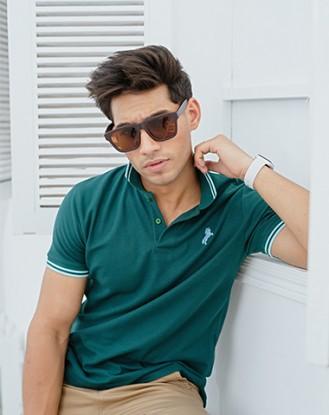 Twin Tipped Green Polo Shirt