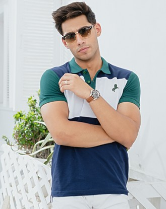 Blue White Block Polo