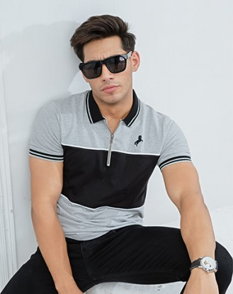 Grey Black Zipper Polo