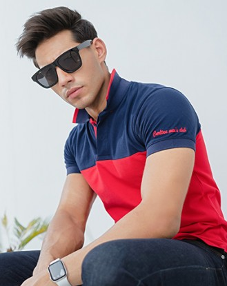 Navy and Red Polo