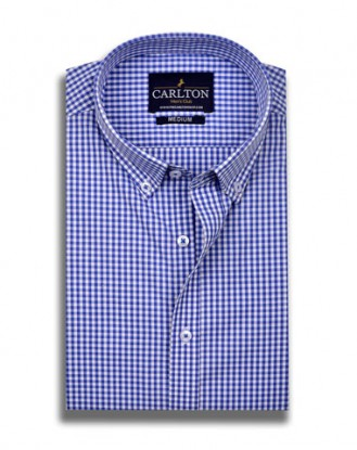 Tiny Blue and White Check Shirt Design