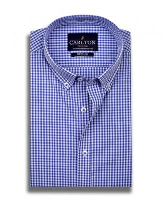 Tiny Blue and White Check Shirt Design
